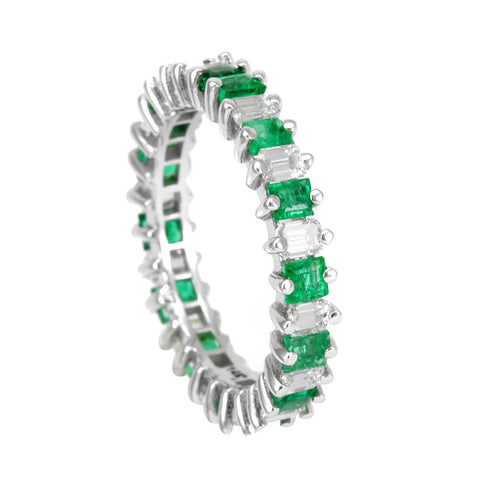 Baguette Diamond and Emerald Eternity Ring, 14K White Eternity Ring, Forever Ring