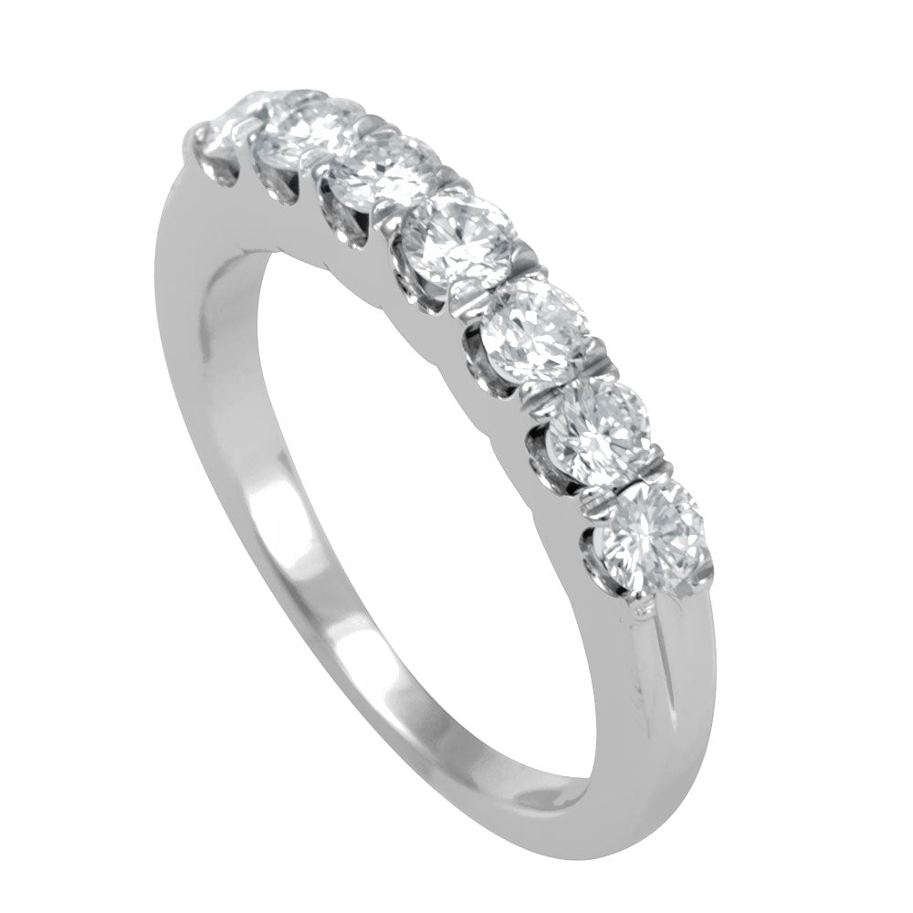 U Prong 7 Diamond Semi Eternity Band in 14K White Gold