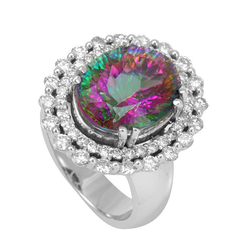 Double Halo Diamond and Mystic Topaz Ring, 14K White Gold Ladies Rings, Halo Ring