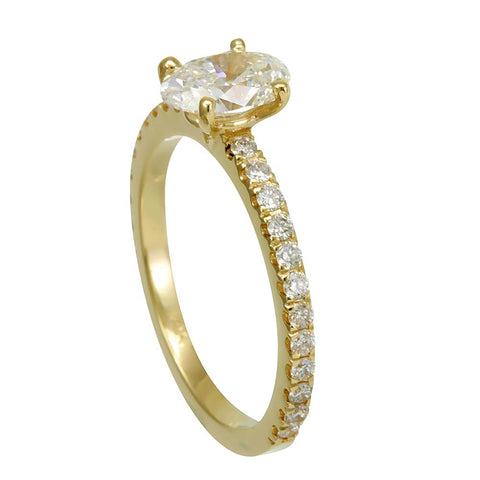 14K Yellow Gold Engagement Ring with Round Diamonds And Oval Cubic Zirconia Center
