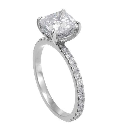 Halo Diamond in 14K White Gold Engagement Ring Cushion Cut CZ center