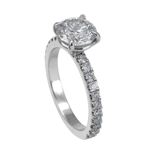Round Diamond Engagement Ring in 14K White Gold with Round CZ center