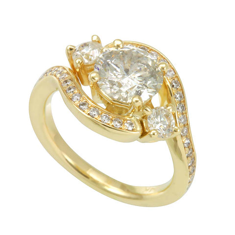 3 Stone 14K Yellow Gold Engagement Twirl Ring