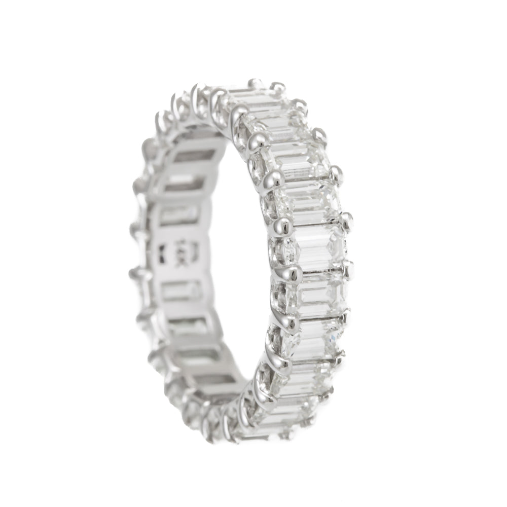 Emerald Diamonds Eternity Ring, Prong Set, 14K White Gold Ladies Rings, Eternity Band