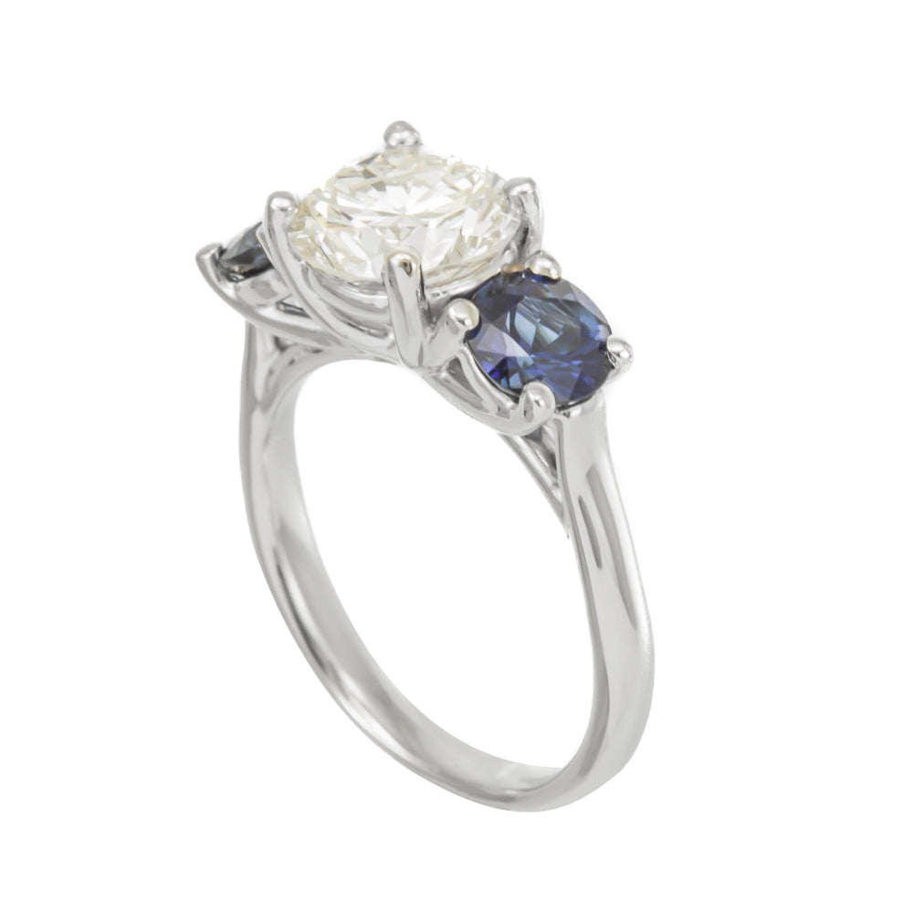 3 Stone Ring in 14K White Gold, Blue Sapphires Engagement Ring with CZ center,Bridal Ring