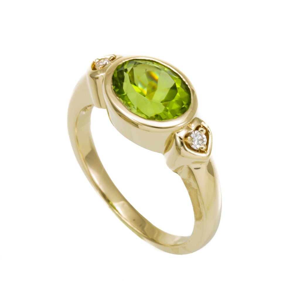 Oval Peridot and Diamond Engagement Ring, 14K Yellow Gold Ladies Rings, August Birthstone Ring