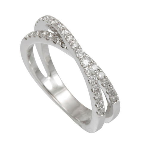 Crisscross Diamond Band Prong Set in 14K White Gold, Crisscross Ring, Overlapping Ring
