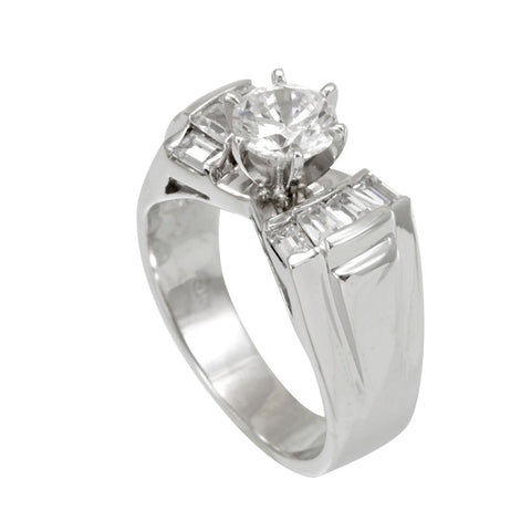 Baguette Diamonds, Channel Set, 14K White Gold, CZ Engagement Ring, Bridal Ring