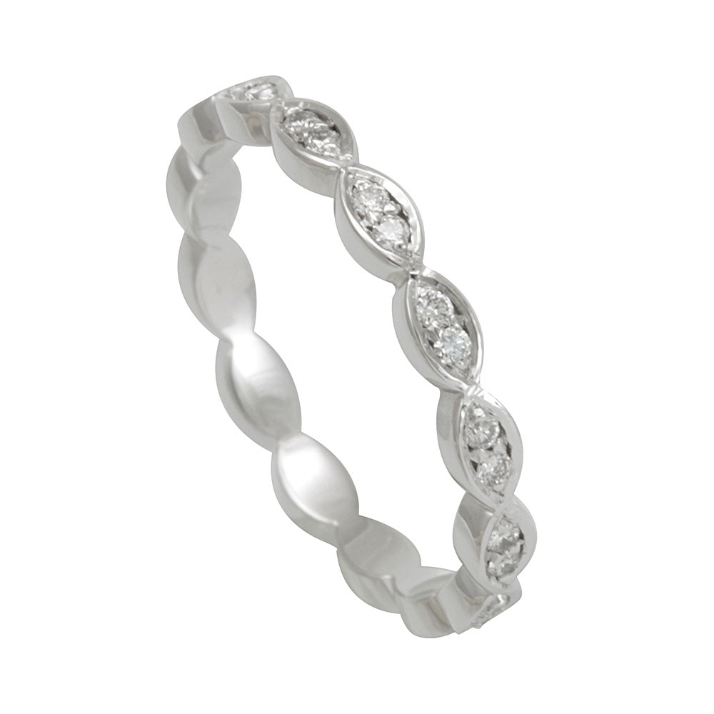 Marquise Shape Eternity Band with Round Diamonds in 14K