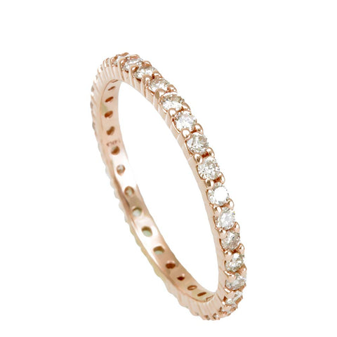 14K Rose Gold Eternity Band with Prong Set Round Diamonds