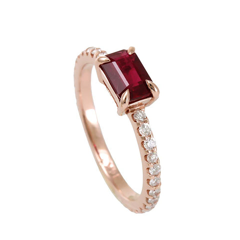 Ruby Diamond Pinky Ring , Stackable Ring in 14K Rose Gold