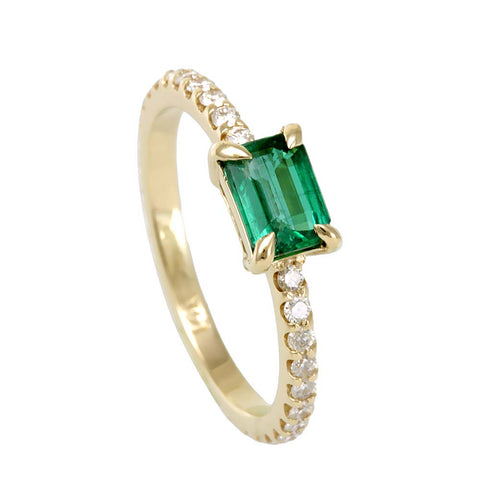 Emerald and Diamond Pinky Ring , Stackable Ring in 14K Yellow Gold