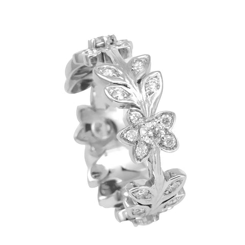 Unique Flower Design 14K White Gold Ladies Ring with Round Diamonds