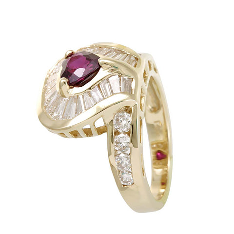 Heart Shape Rhodalite Garnet Round and Baguette Diamond  Unique design Ring in 14K Yellow Gold
