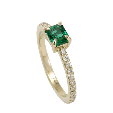 Emerald and Diamond Ring in 14K Yellow Gold, May Birthstone Ring