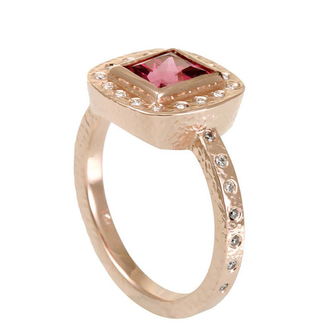 Square Pink Tourmaline with Diamond Halo in 14K Rose Gold Ring
