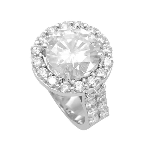 Halo Diamond Engagement, Proposal Ring in 14K White Gold with CZ center