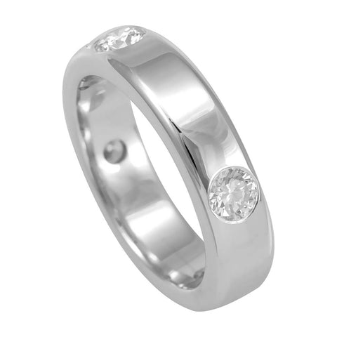 White Gold Wedding Band with Bezel Set Round Diamonds