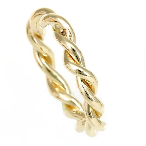 Twisted Rope Ring in 14K Yellow Gold, Stackable Ring