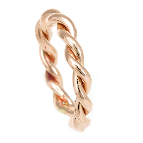 Twisted Rope Ring in 14K Rose Gold, Stackable Ring