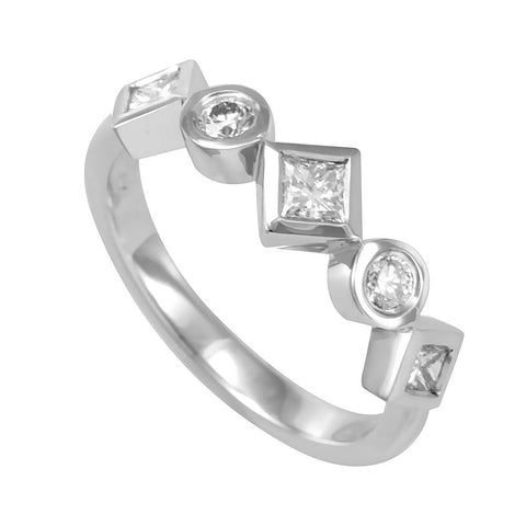 Unique Bezel Diamond Band in 14K White Gold