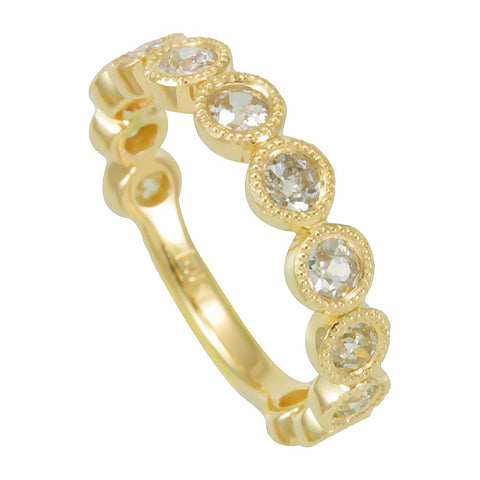 Bezel Set Round Diamond with Milgrain Design Ladies Band in 14K Yellow Gold