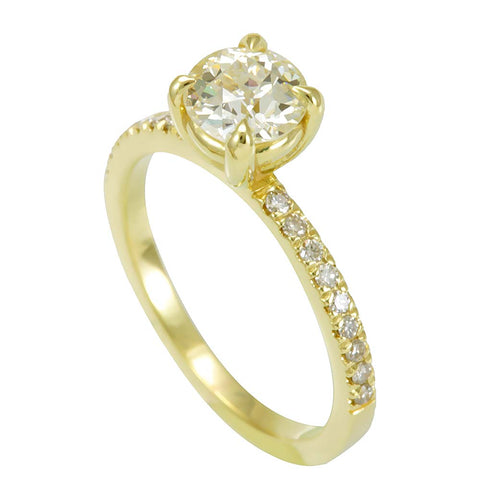 14K Yellow Gold Engagement Ring with Round Diamonds And Cubic Zirconia Center