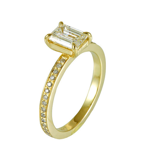 14K Yellow Gold Engagement Ring with Emerald Cut center and Round Diamond Eternity Shank