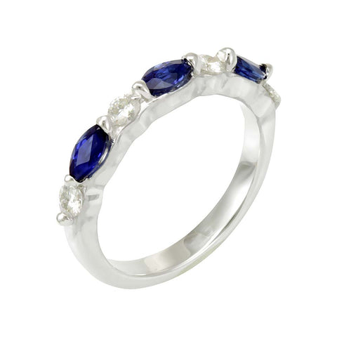 Marquise Blue Sapphire and Round Moissanite alternate Band in 14K White Gold Ring