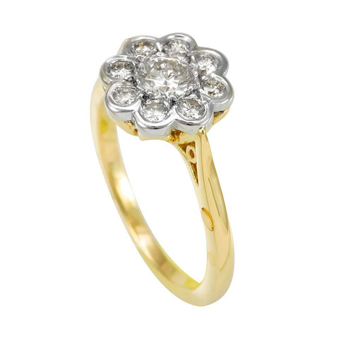 Cluster Engagement Ring with Round Diamonds in 14K 2Tone