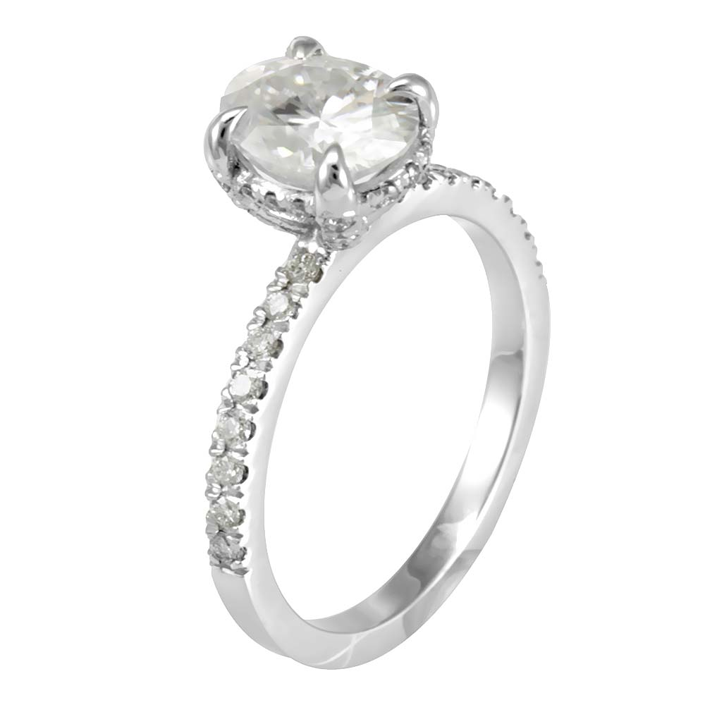 Round Diamond Engagement Ring with eagle prong Round CZ center in 14k White Gold