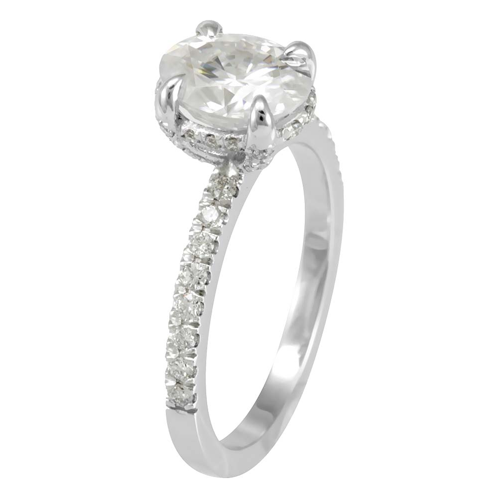 Diamond Engagement Ring with eagle prong Oval CZ center in 14k White Gold