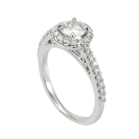 14K White Gold Halo Engagement Ring with Round Diamonds, Diamond Proposal Ring
