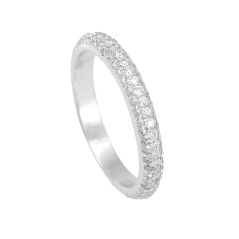 3 Row Round Diamonds Micro Pave Semi Eternity Band in 14K White Gold