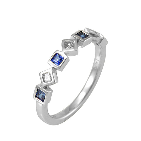 Blue Sapphire and Princess Cut Diamonds in 14K White Gold Band