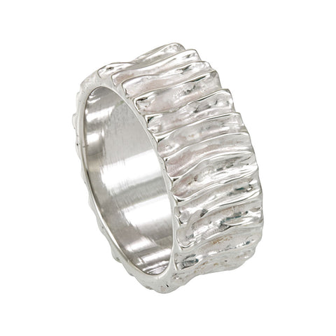 Sterling Silver Wood Carved Ladies Band, Ladies Silver Ring