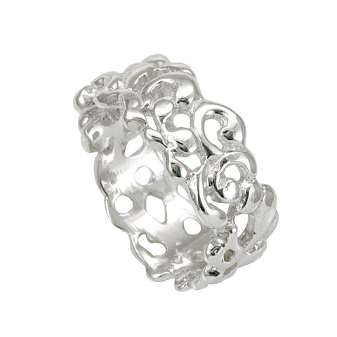 Sterling Silver Cut out Nugget design Ladies Band, Fashion Ladies Silver Ring