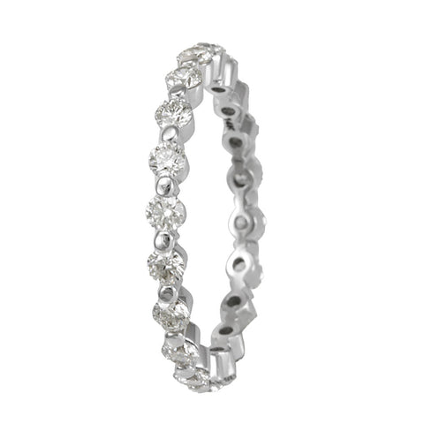 14K White Gold Eternity Band with Single Prong Set Round Diamonds, Forever Band