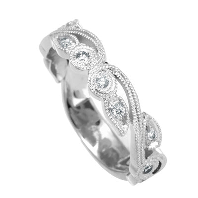 Unique Design 14K White Gold Ladies Ring with Round Diamonds