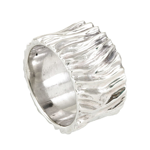 Sterling Silver Wood Carved Men's Band, Men's Silver Ring
