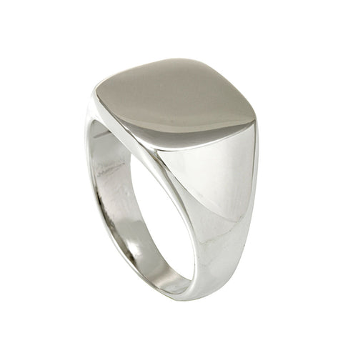 Square Top Signet Sterling Silver Ring, Men's Silver Ring, Signet Ring
