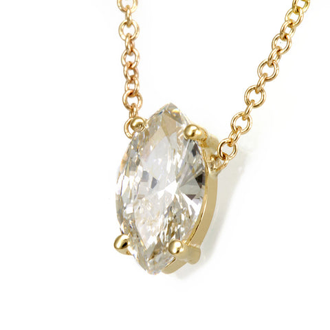 Marquise Diamond Solitaire Pendant Necklace, 14K Yellow Gold Ladies Necklace, Bezel Pendant, Ladies Fine Jewelry