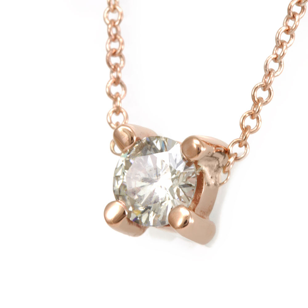 Round Diamond Solitaire Pendant Necklace, 14K Rose Gold Ladies Necklace, Bezel Pendant