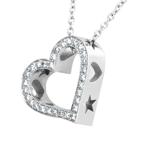 Heart Diamond Pendant with heart and star cut out designs, 14K White Gold Ladies Pendant, Love Pendant,Ladies Fine Jewelry