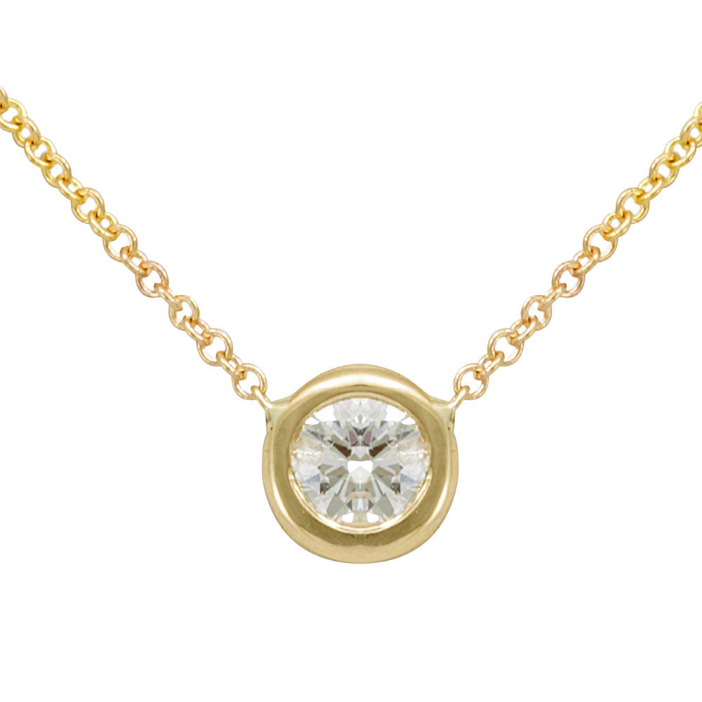 Round Diamond Solitaire Pendant Necklace, 14K Yellow Gold Ladies Necklace, Bezel Pendant, Ladies Fine Jewelry