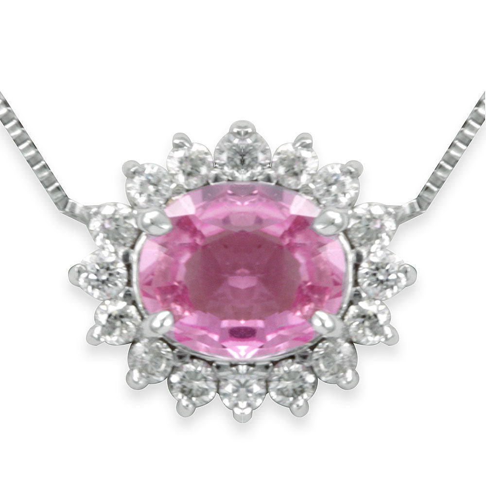 Diamond Halo oval Pink Sapphire Pendant, Necklace in 4K White Gold , Pink Sapphire Necklace