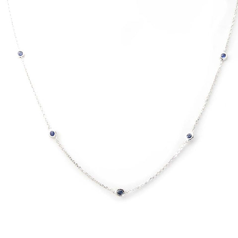 Blue Sapphires 14K White Gold By The Yard Necklace
