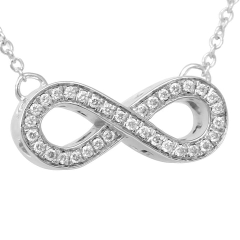 Infinity Diamond in 14K White Gold Pendant Necklace