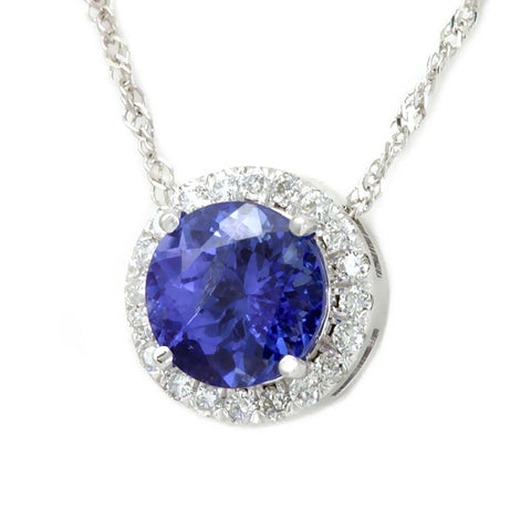 Diamond Halo Tanzanite Pendant, Necklace in 4K White Gold