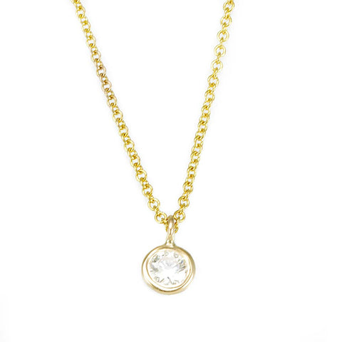 Diamond Bezel Pendant Necklace in 14K Yellow Gold